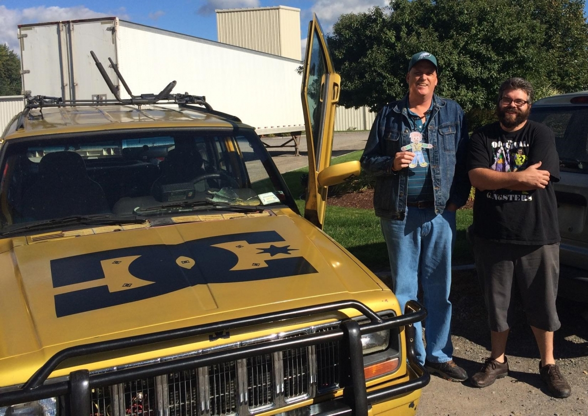 Dan, Paul, Flat Stanley with Paul's new Jeep